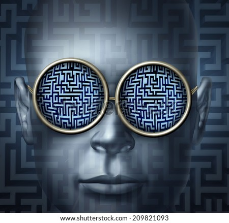 Global solutions business concept as a human head wearing glasses with a maze or labyrinth as a symbol for guidance visionary and strategic direction challenge. - stock photo