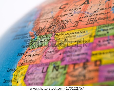 Global Studies - Washington State in the Pacific NW of the United States - stock photo