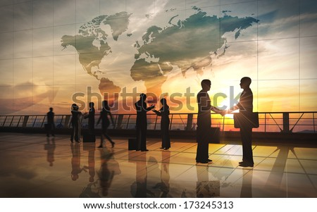 Global Team Business shake hand and meeting silhouettes  - stock photo