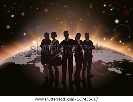 Global team concept of dynamic business team in silhouette with globe in the background - stock photo