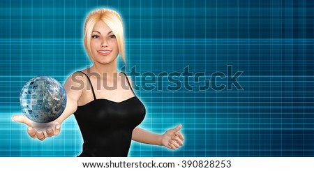 Global Technology Concept with Woman Holding Globe - stock photo
