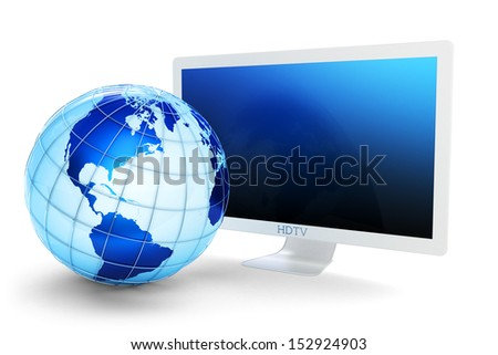 Global telecommunications concept. Modern widescreen TV with a white case and the Earth globe isolated on white. Elements of this image furnished by NASA.  - stock photo