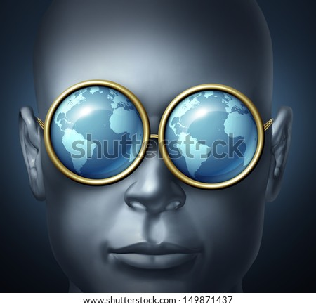 Global vision and world investor business symbol as a businessman icon wearing eye glasses with the reflection of the planet as a concept of leadership and vision for future investing opportunities. - stock photo