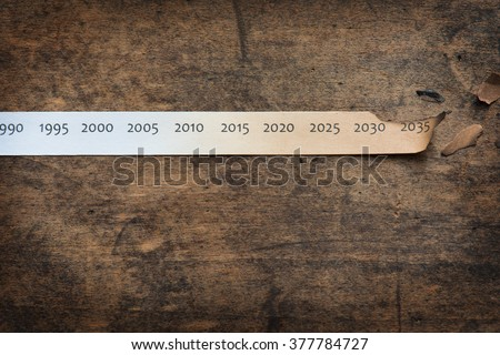 Global warming, Climate change, concept image. Rising temperature through the decades. Paper strip with timeline charred and burnt on the right end, placed on old wooden table. - stock photo