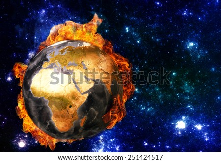 Global warming concept. Elements of this image furnished by NASA. - stock photo
