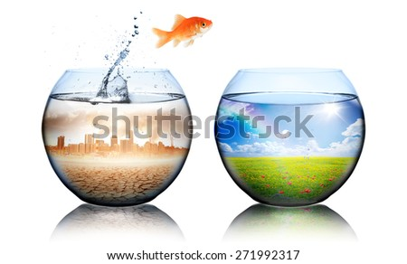 Global Warming Concept - environment disaster - goldfish jump from pollution city to green landscape  - stock photo
