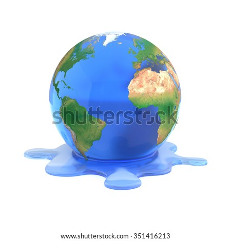 global warming 3d concept - melting earth - stock photo