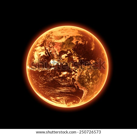 Global Warming - Elements of this Image Furnished By NASA - stock photo