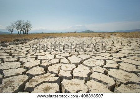 Global warming issue, ground land are dry, drought conditions  - stock photo