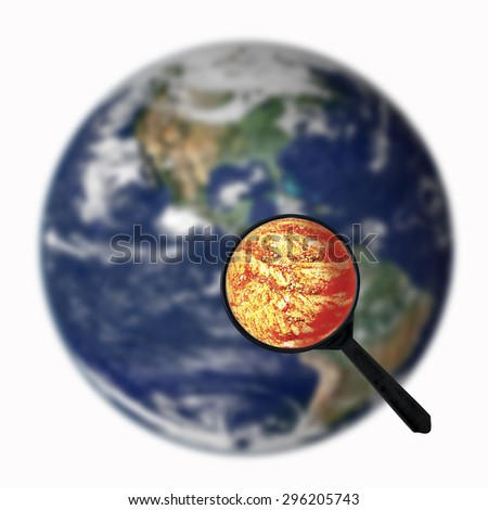 Global warming , Magnifier on earth ,  Element of this image furnished by NASA - stock photo