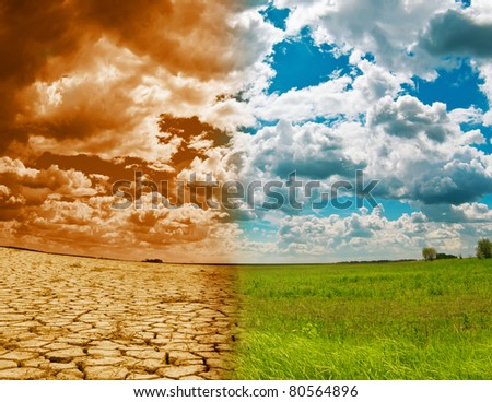 Global Warming on a landscape - stock photo