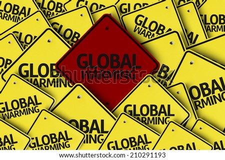 Global Warming written on multiple road sign  - stock photo