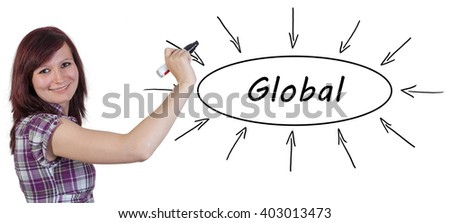 Global - young businesswoman drawing information concept on whiteboard.  - stock photo