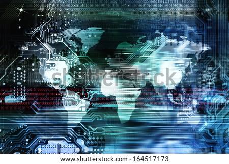 Globalization Internet technologies - stock photo