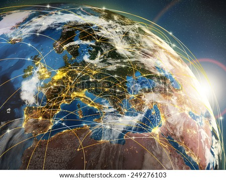Globalization or communication concept. Earth and luminous rays symbolizing network or airlines. 3d  Elements of this image furnished by NASA - stock photo