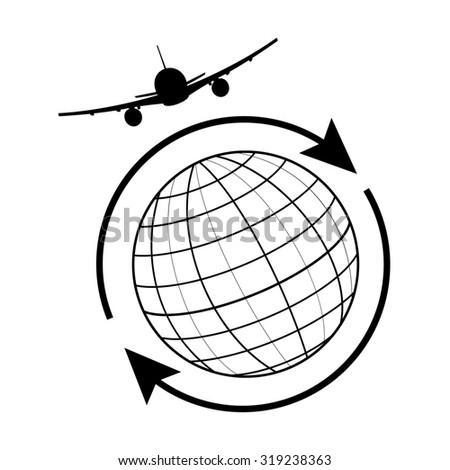 Globe airplane and arrow around the world. Globe travel, earth icon, globe icon  - stock photo