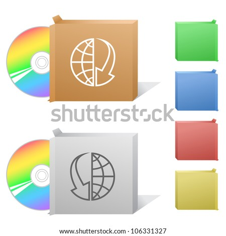 Globe and array down. Box with compact disc. Raster illustration. - stock photo