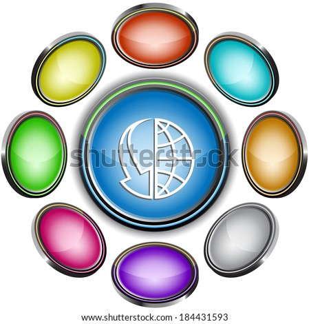 Globe and array down. Internet icons. Raster illustration. - stock photo