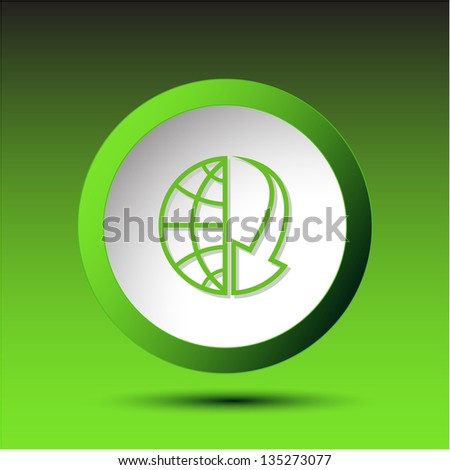 Globe and array down. Plastic button. Raster illustration. - stock photo