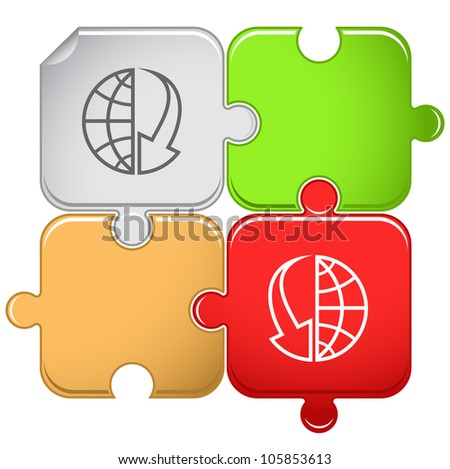 Globe and array down. Raster puzzle. - stock photo