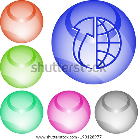Globe and array up. Interface element. Raster illustration. - stock photo