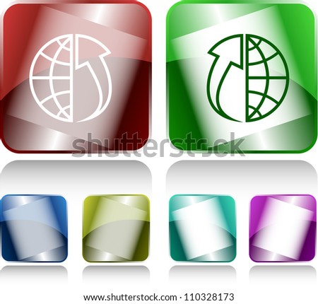 Globe and array up. Internet buttons. Raster illustration. - stock photo