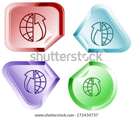 Globe and array up. Stickers. Raster illustration. Vector version is in my portfolio. - stock photo