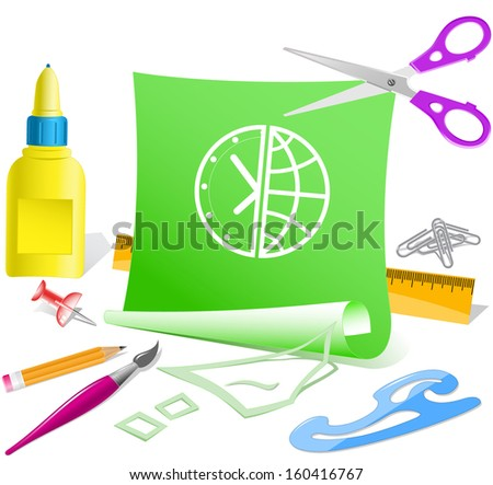 Globe and clock. Paper template. Raster illustration. - stock photo