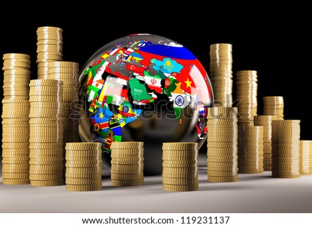 Globe and coins on black background - stock photo