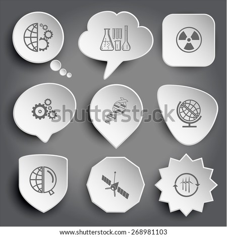 globe and gears, chemical test tubes, radiation symbol, dna, globe and magnifying glass, spaceship, wind turbine. White raster buttons on gray. - stock photo