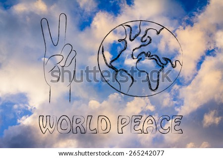 globe and hands making peace sign: world peace, respect and happiness - stock photo