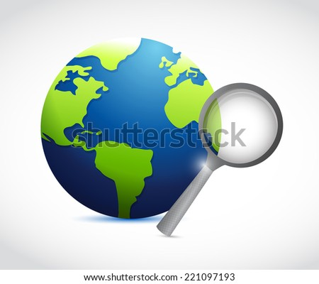 globe and magnify illustration design over a white background - stock photo