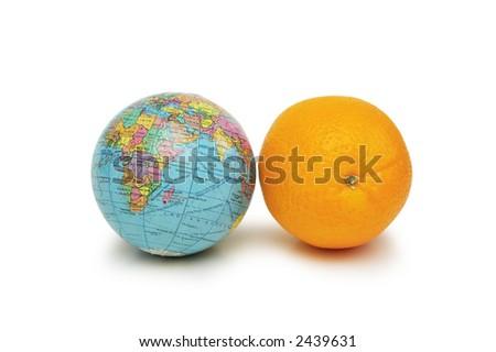 Globe and orange isolated on the white - stock photo