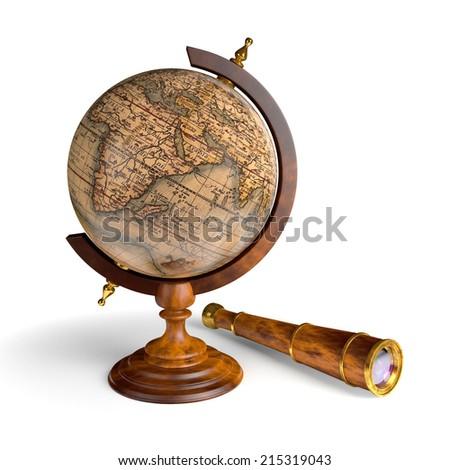 globe and spyglass - stock photo