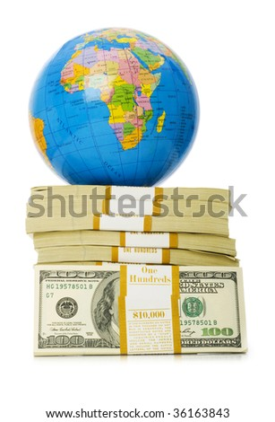 Globe and stack of dollars isolated on white - stock photo