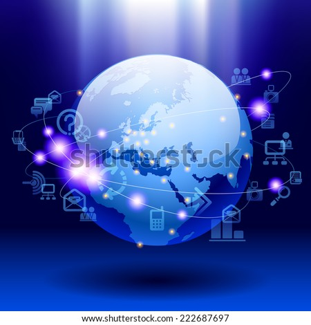 Globe and web icons on bright blue background. World digital communication and technology network - stock photo