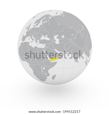 Globe Asia Middle East Yemen - stock photo