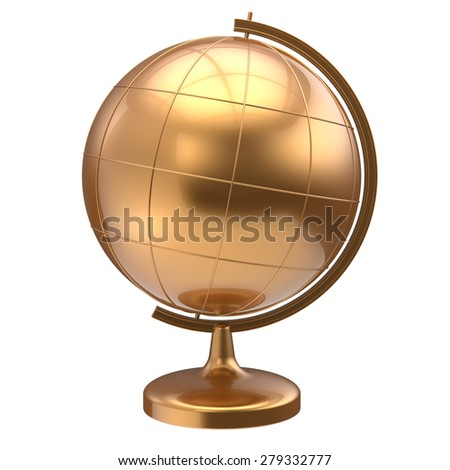 Globe blank golden planet Earth global geography school studying world cartography symbol icon yellow gold. 3d render isolated on white background - stock photo