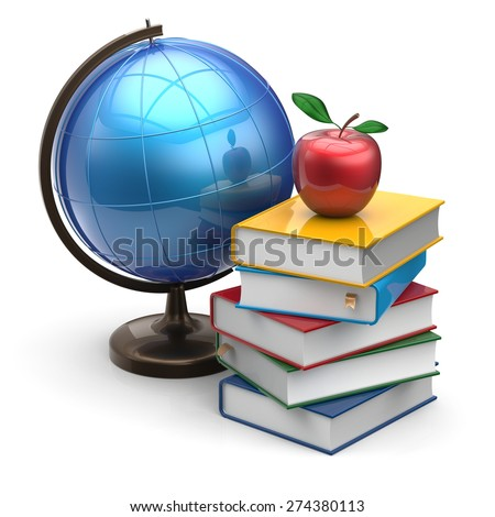 Globe books apple blank global international geography wisdom literature icon studying knowledge symbol concept. 3d render isolated on white background - stock photo
