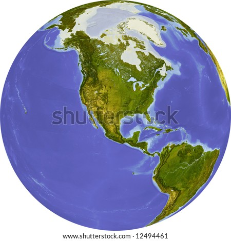 Globe, centered on North America. Shaded relief colored according to dominant vegetation. Shows polar and pack ice, large urban areas. Isolated on white, with clipping path. - stock photo