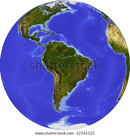 Globe, centered on South America. Shaded relief colored according to dominant vegetation. Shows polar and pack ice, large urban areas. Isolated on white, with clipping path. - stock photo