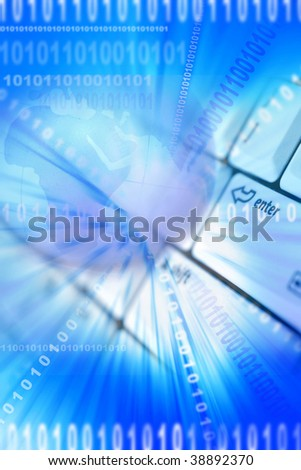 Globe, computer keyboard and binary codes on blue - stock photo