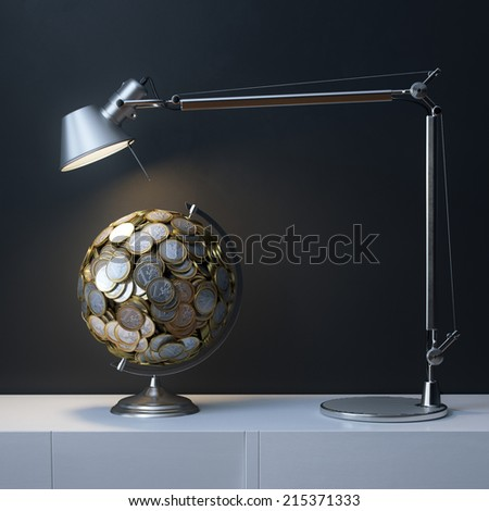 Globe Created Of Euro Coins Under The Lamp In Interior Room - stock photo