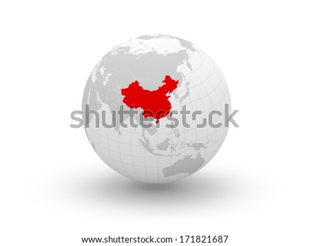 Globe. 3d. China. Elements of this image furnished by NASA - stock photo