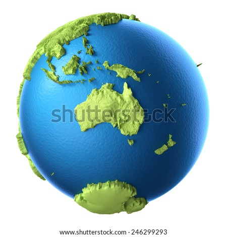 Globe 3d isolated on white background. Continent Australia. Elements of this image furnished by NASA - stock photo