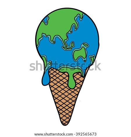 Globe Earth Ice Cream Cone Melting - stock photo