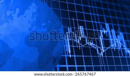 Globe Earth Icon and Stock market graph and bar chart price display. Data on live computer screen. Display of quotes pricing graph visualization. Continets map outline on planet globe icon. - stock photo