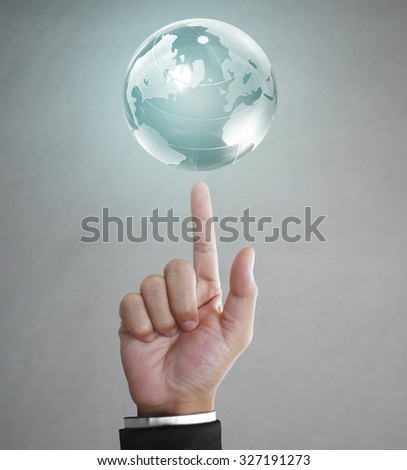 Globe ,earth in human hand, hand holding our planet earth glowing. Earth image provided by Nasa  - stock photo