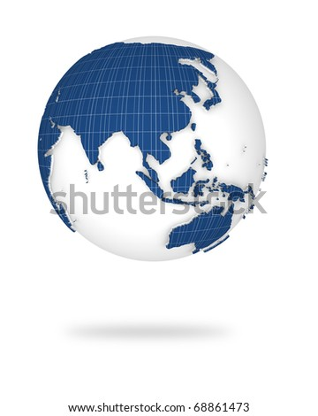 Globe earth in photovoltaic style. Asia and Oceania lands. - stock photo