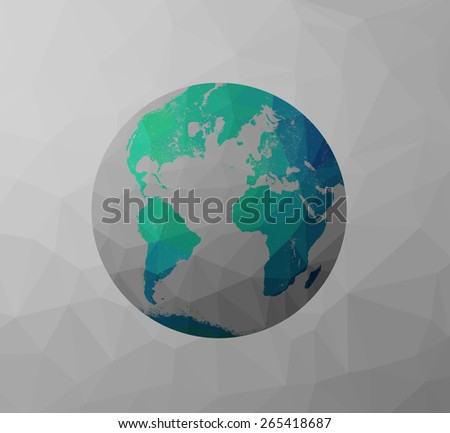 Globe Earth model icon with polygon shapes and map of the continents of the world. Low poly background triangles and rectangles. Green, blue, cyan, gray color. - stock photo